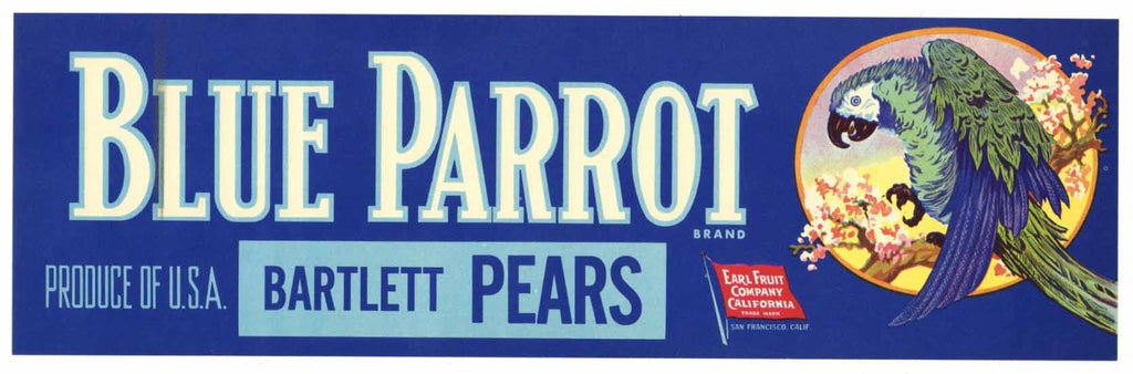 Blue Parrot Brand Vintage Pear Crate Label