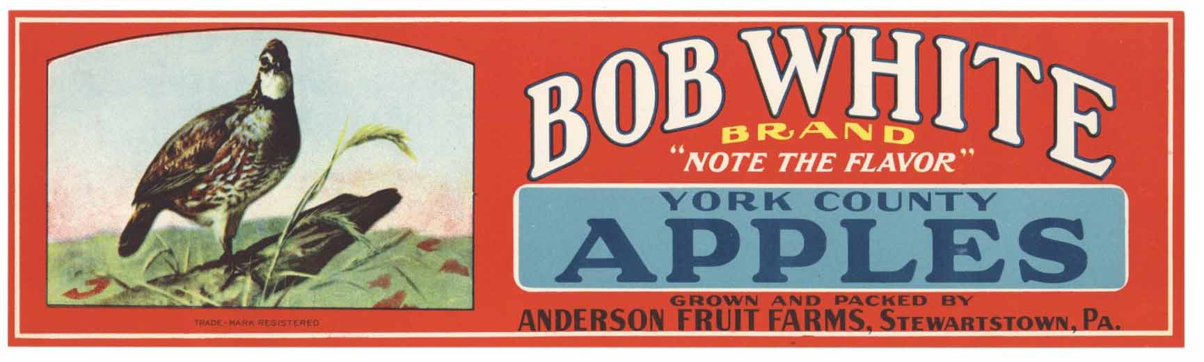 BOB WHITE Brand Vintage Apple Crate Label (LL167)