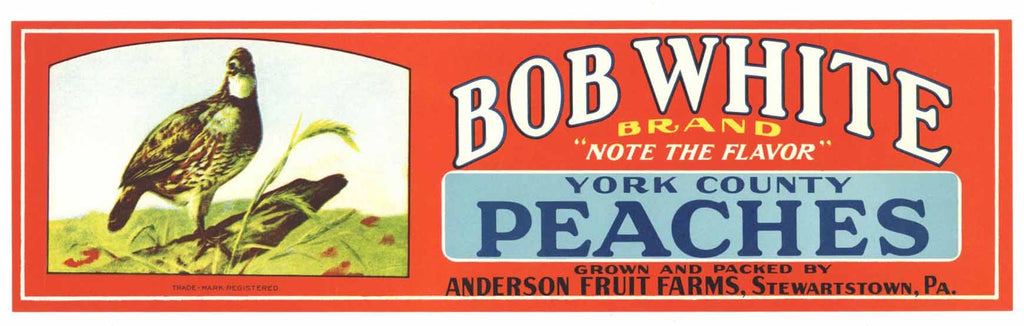 Bob White Brand Vintage Pennsylvania Peach Crate Label