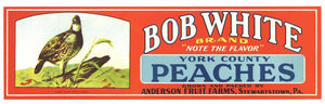 BOB WHITE Brand Vintage Peach Crate Label (LL168)
