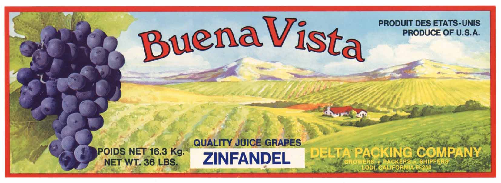 Buena Vista Brand Vintage Lodi Grape Crate Label