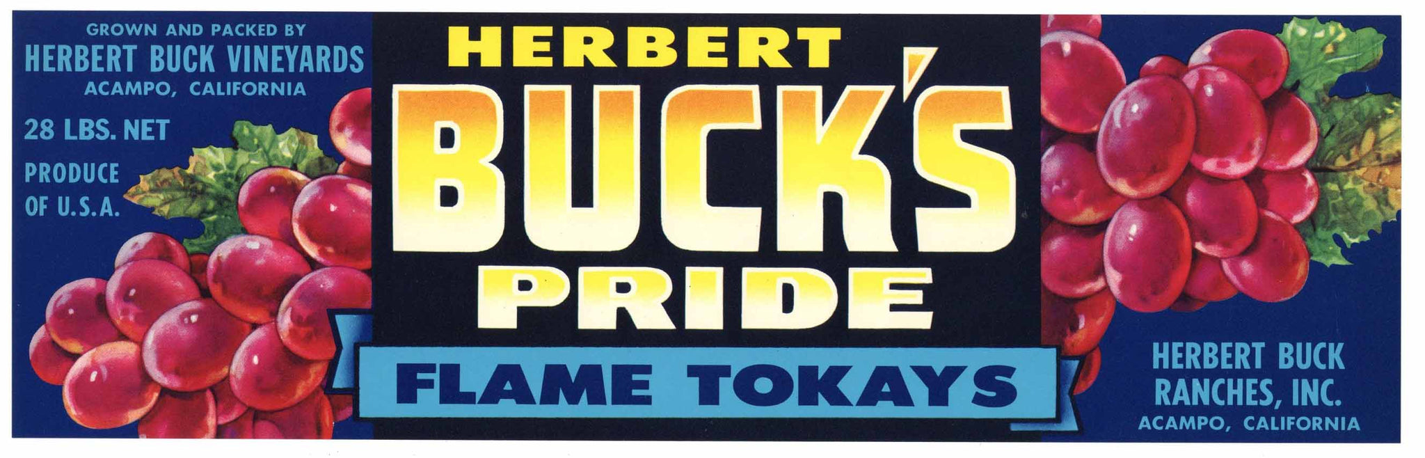 Buck's Pride Brand Vintage Acampo Grape Crate Label, flame tokay