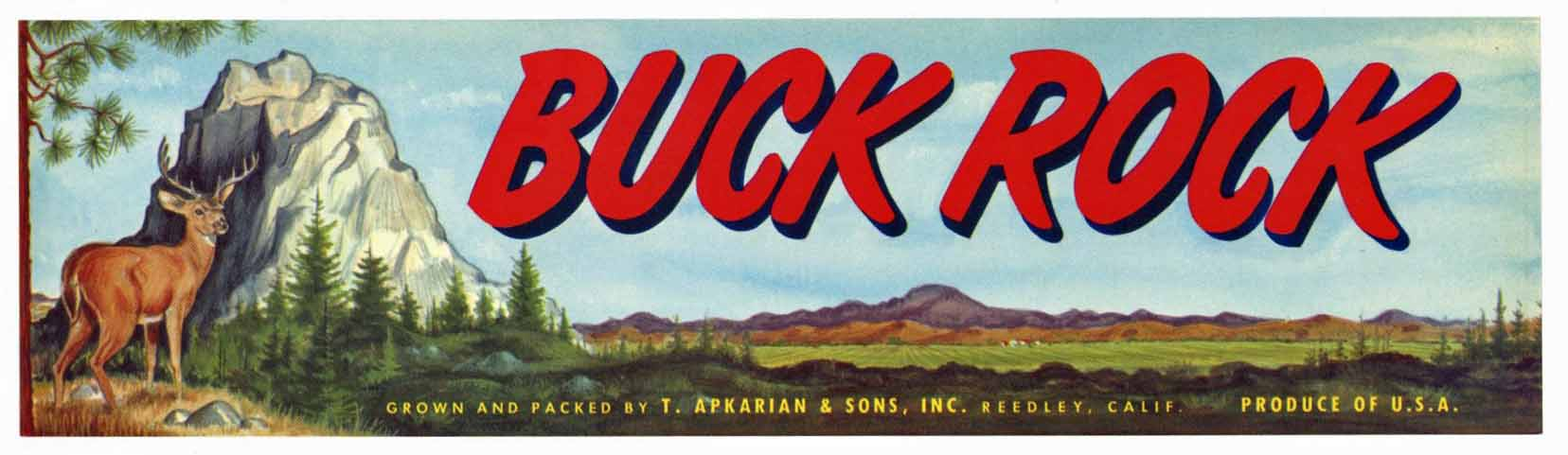 Buck Rock Brand Vintage Produce Crate Label