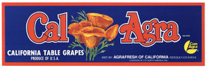 Cal Agra Brand Vintage Reedley Grape Crate Label