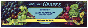 California Grapes Brand Vintage Grape Crate Label