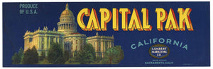 Capital Pak Brand Vintage Sacramento Produce Crate Label