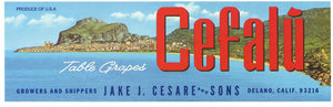 Cefalu Brand Vintage Delano Grape Crate Label