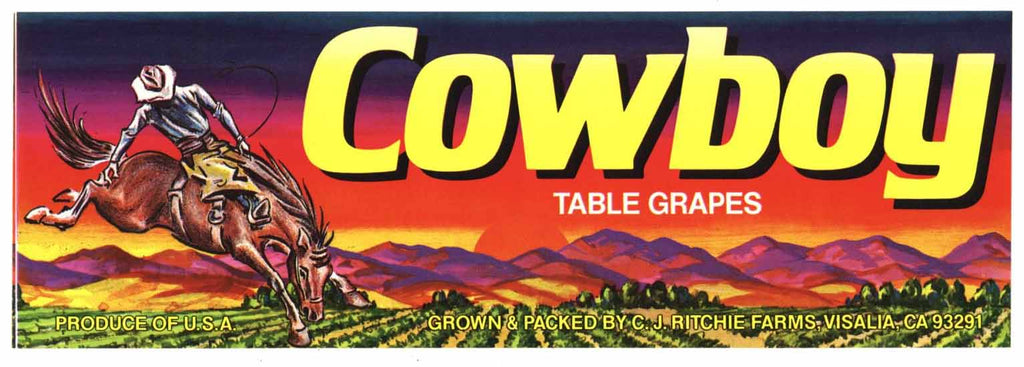 Cowboy Brand Vintage Grape Crate Label