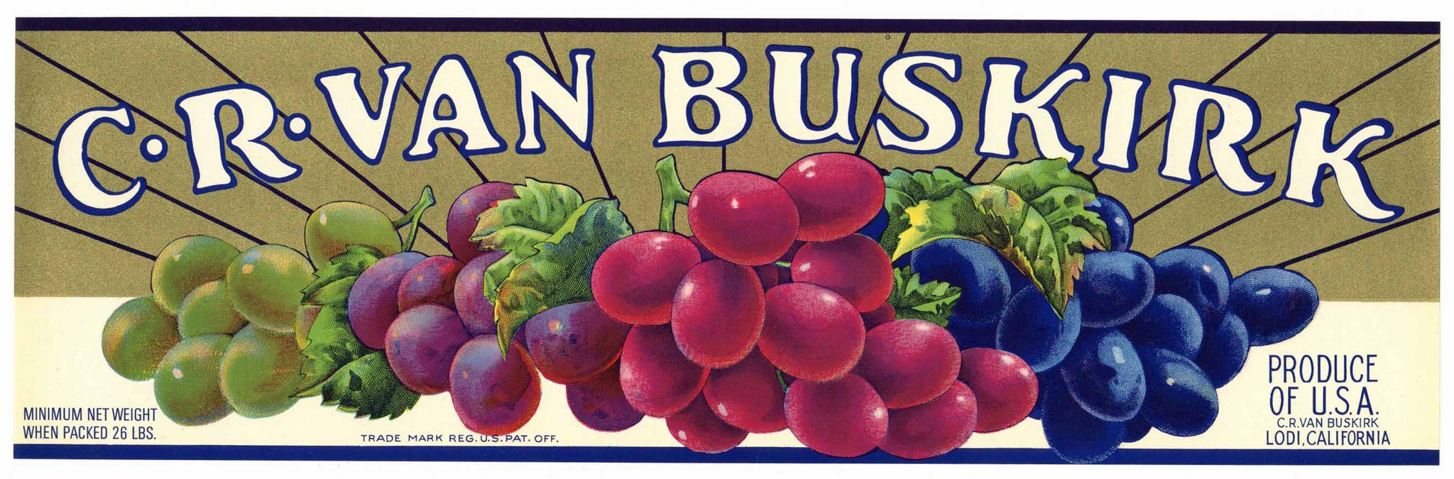 C. R. Van Buskirk Brand Vintage Lodi Grape Crate Label