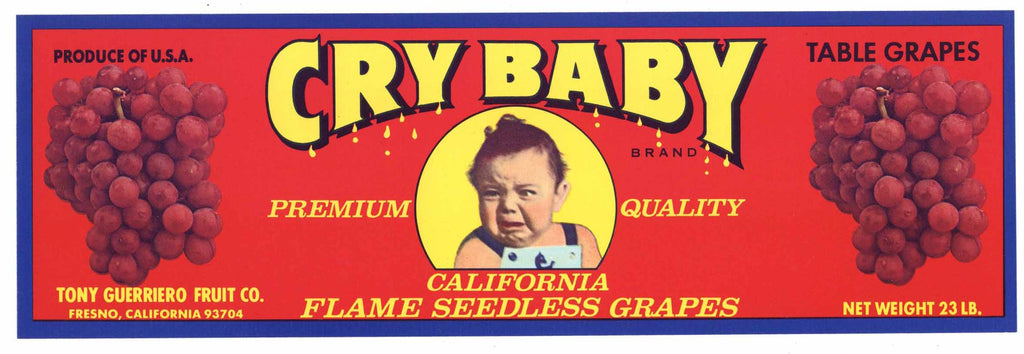 Cry Baby Brand Vintage Flame Seedless Grape Crate Label