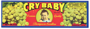 Cry Baby Brand Vintage Thompson Seedless Grape Crate Label
