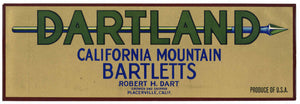 Dartland Brand Vintage Placerville Pear Crate Label, lug