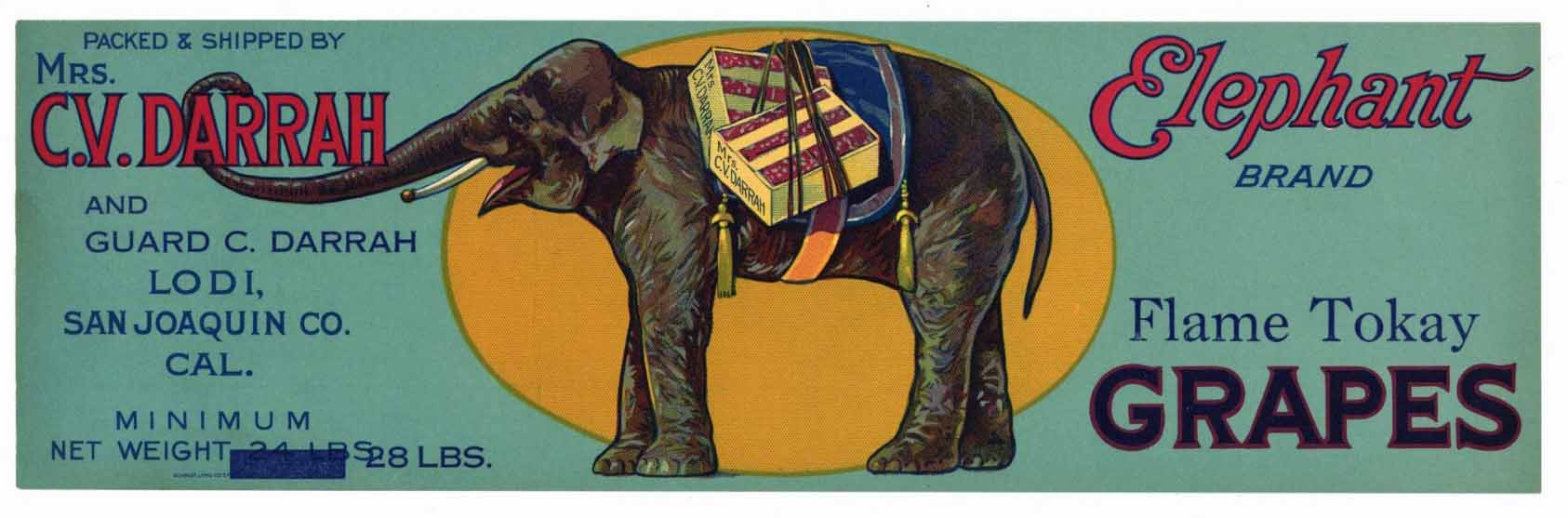 ELEPHANT Brand Vintage Grape Crate Label (LL236)