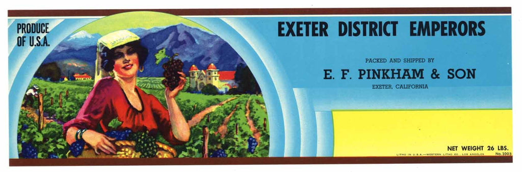 EXETER DISTRICT EMPERORS Vintage Grape Crate Label (LL244)