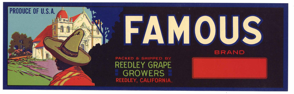 Famous Brand Vintage Reedley Grape Crate Label