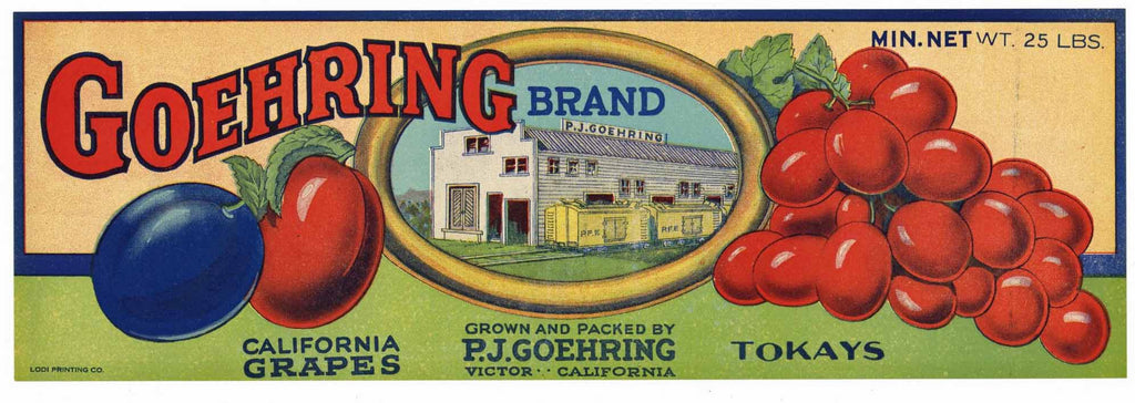 Goehring Brand Vintage Grape Crate Label