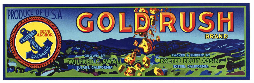 Gold Rush Brand Vintage Fruit Crate Label