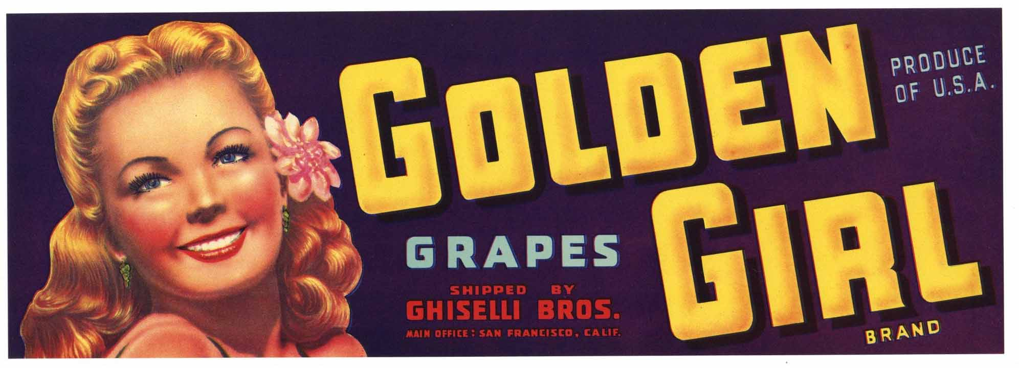 Golden Girl Brand Vintage Grape Crate Label