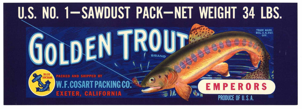 Golden Trout Brand Vintage Grape Crate Label