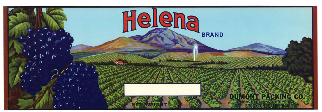 Helena Brand Vintage Grape Crate Label