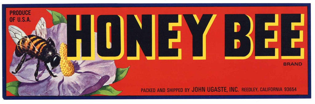 Honey Bee Brand Vintage Fruit Crate Label