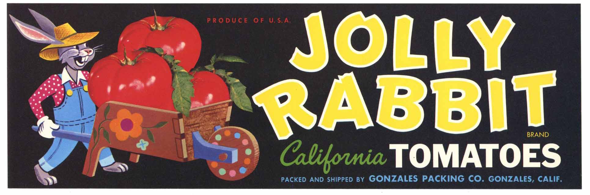 Jolly Rabbit Brand Vintage Tomato Crate Label