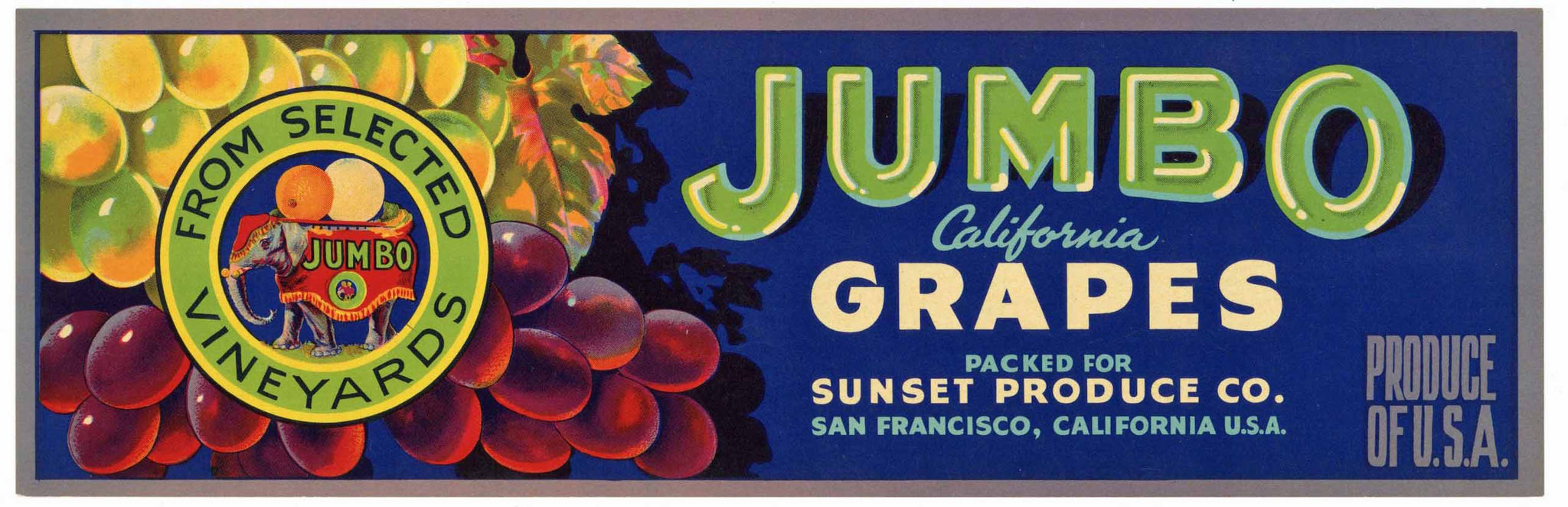 Jumbo Brand Vintage Grape Crate Label, Elephant
