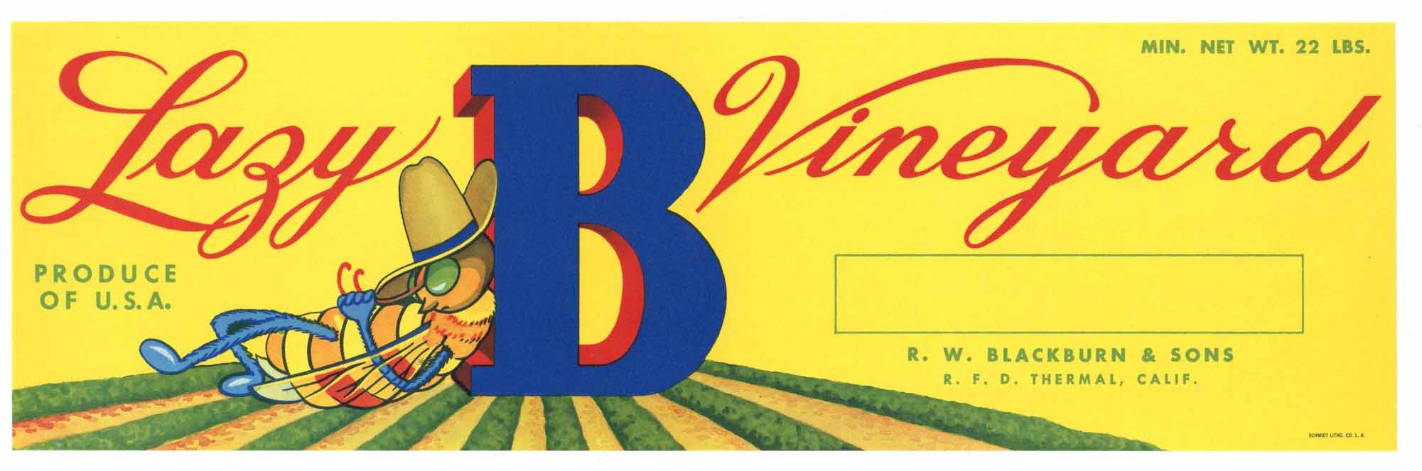 Lazy B Vineyard Brand Vintage Grape Crate Label y