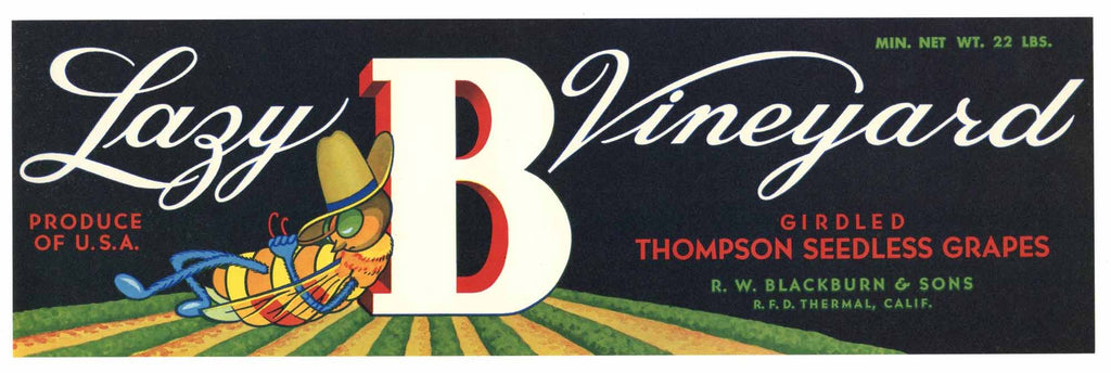 Lazy B Vineyard Brand Vintage Grape Crate Label b