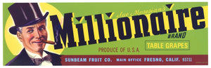 Millionaire Brand Vintage Fresno Grape Crate Label