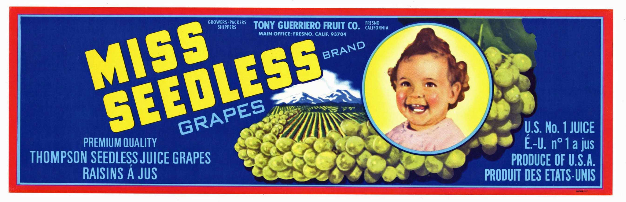 Miss Seedless Brand Vintage Fresno Grape Crate Label