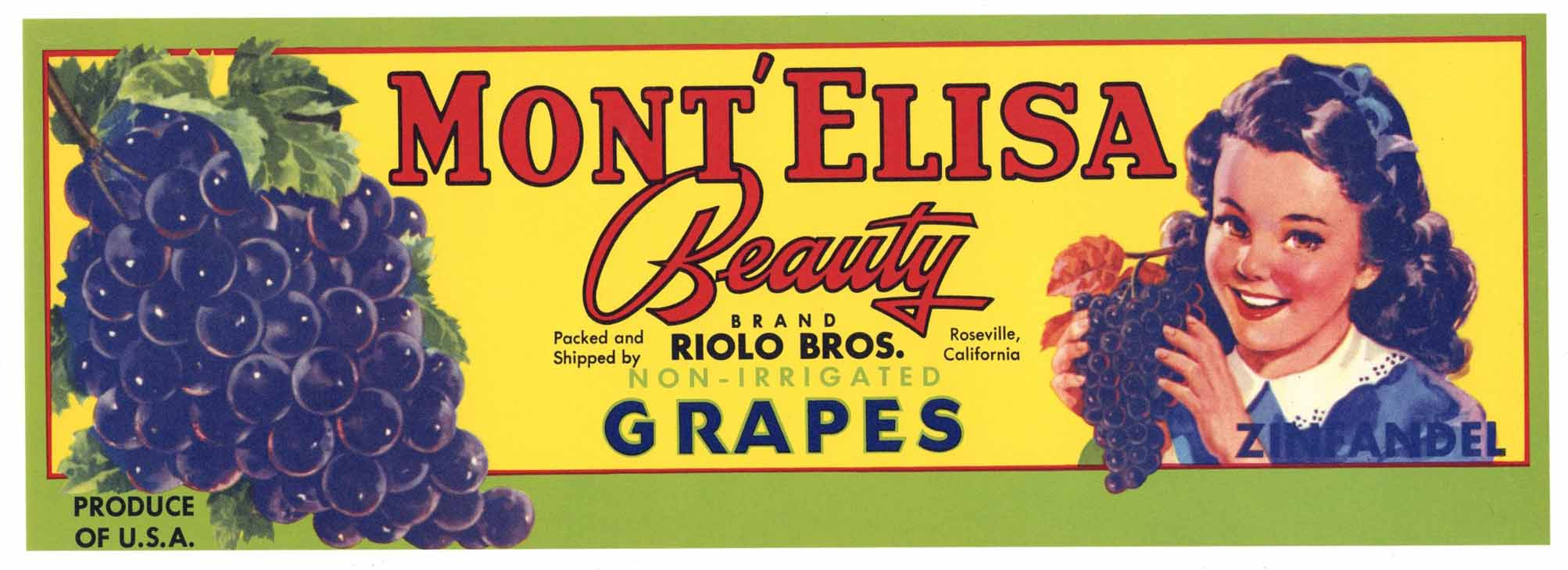 Mont' Elisa Brand Vintage Roseville Grape Crate Label