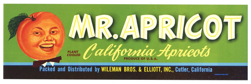 Mr. Apricot Brand Vintage Fruit Crate Label