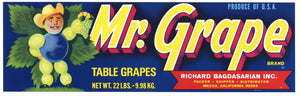 Mr. Grape Brand Vintage Coachella Valley Fruit Crate Label