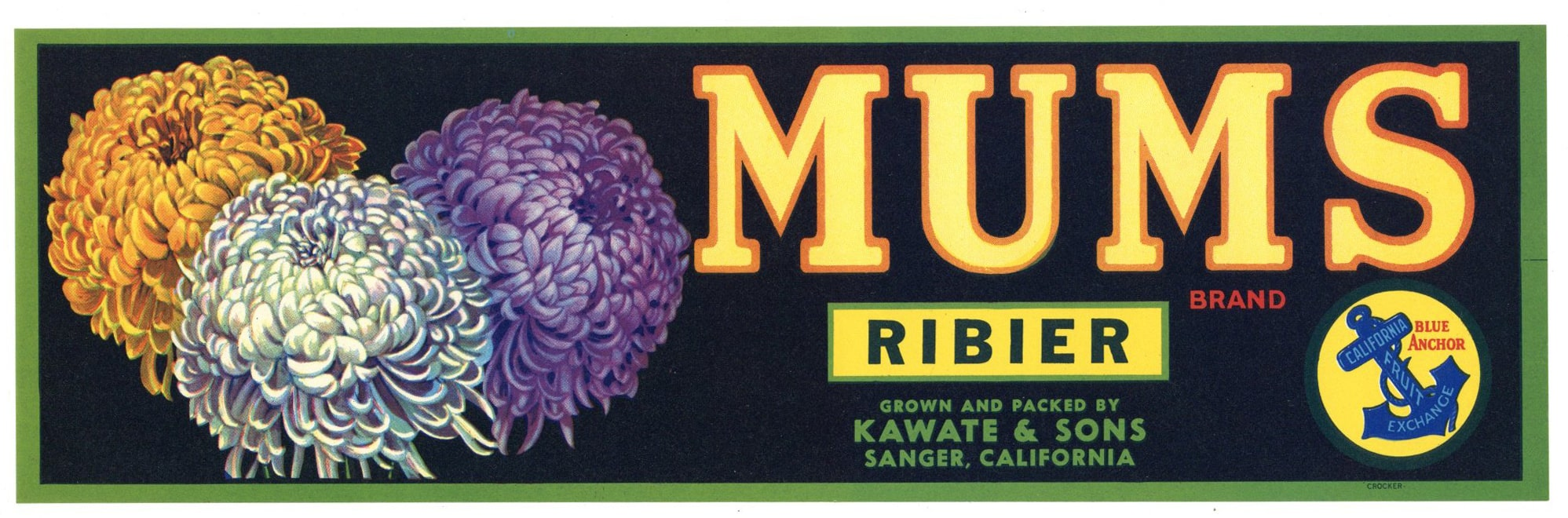 Mums Brand Vintage Sanger Grape Crate Label