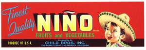 Nino Brand Vintage Fruit Crate Label, red