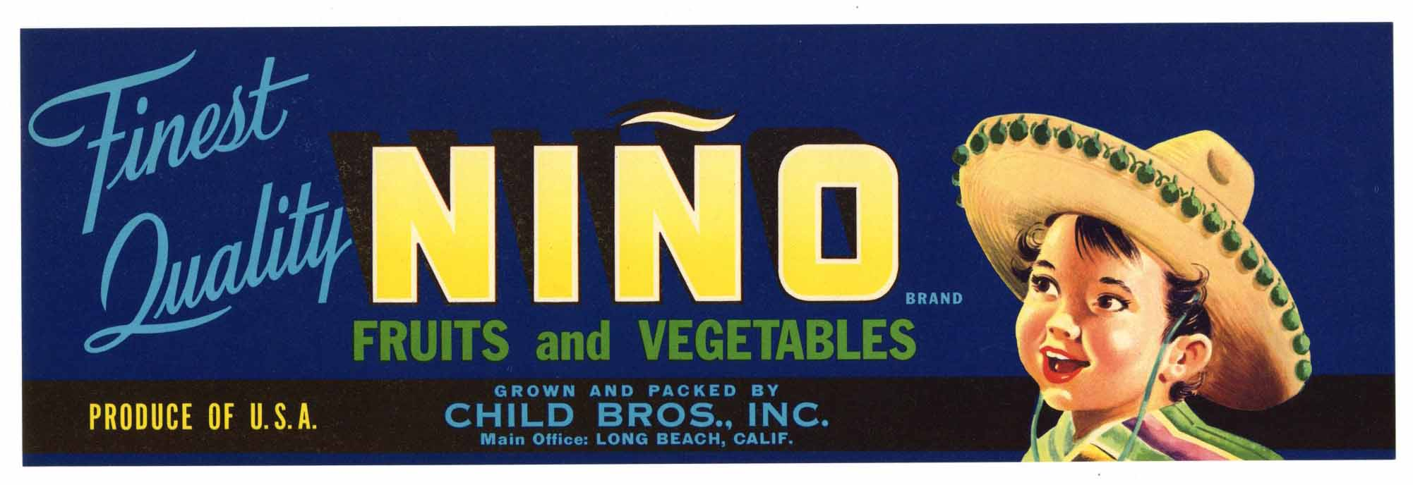 Nino Brand Vintage Fruit Crate Label, blue