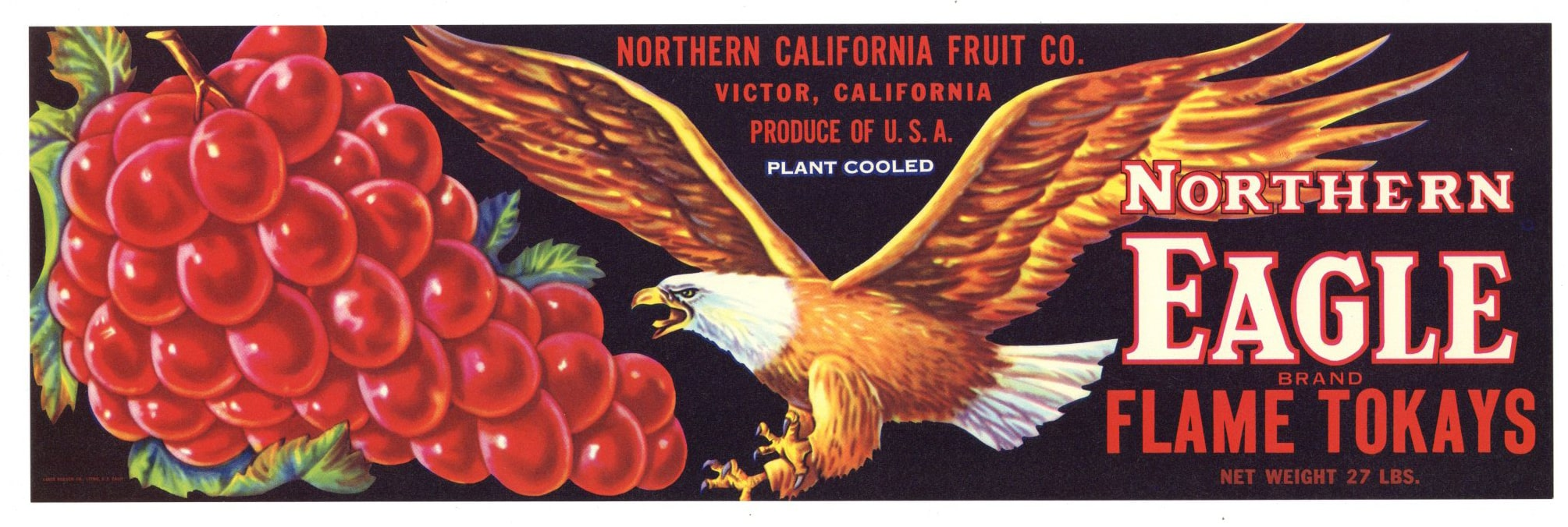 Northern Eagle Brand Vintage Lodi Grape Crate Label