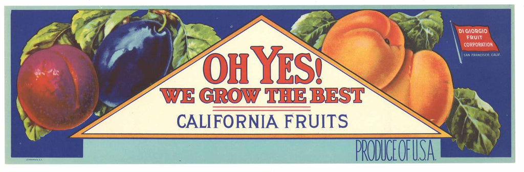 Oh Yes! Brand Vintage Fruit Crate Label