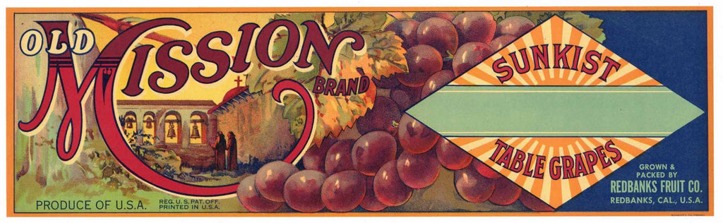 Old Mission Brand Vintage Grape Crate Label, r