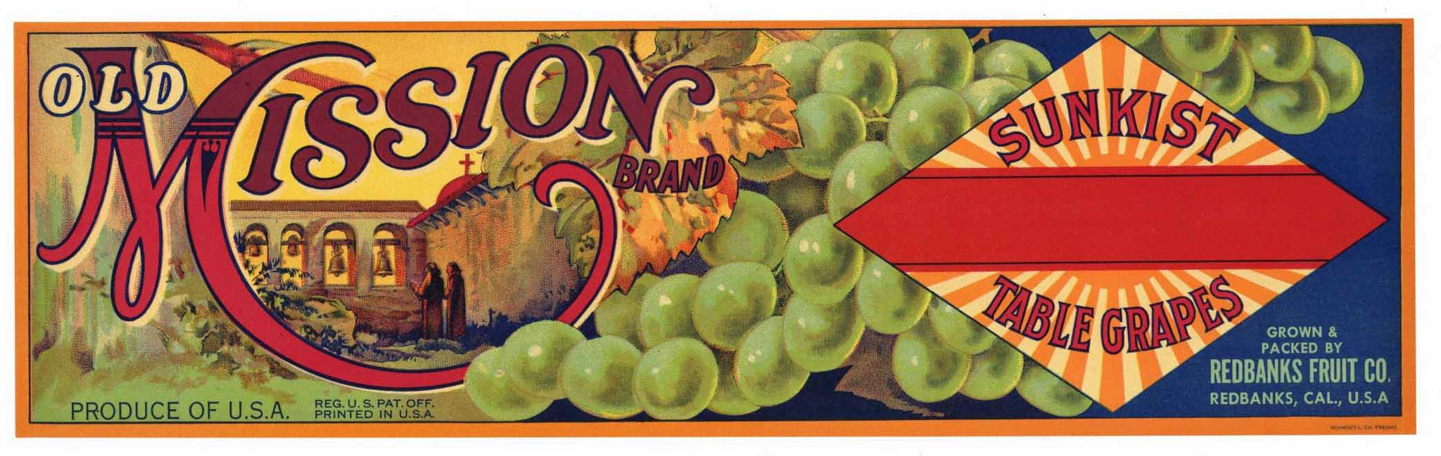 Old Mission Brand Vintage Grape Crate Label, g