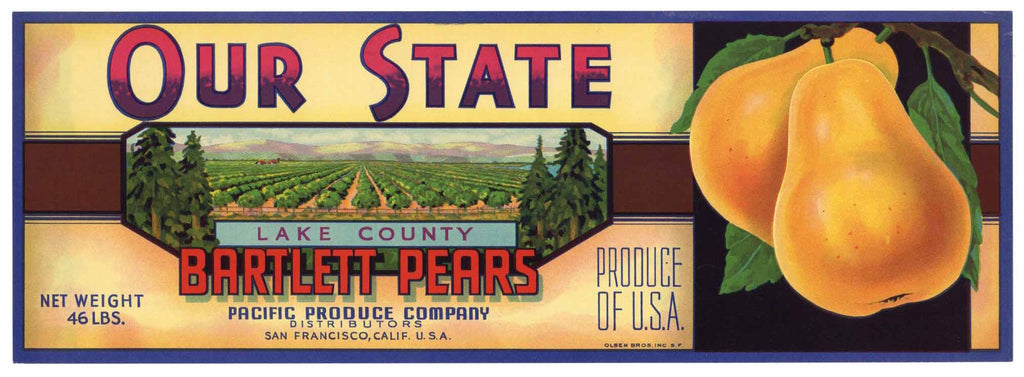 Our State Brand Vintage Pear Crate Label