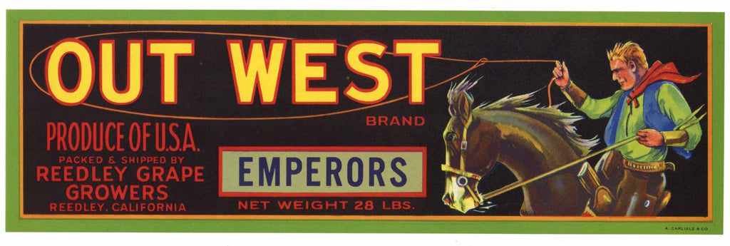 Out West Brand Vintage Grape Crate Label
