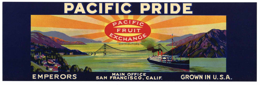 Pacific Pride Brand Vintage Grape Crate Label, o