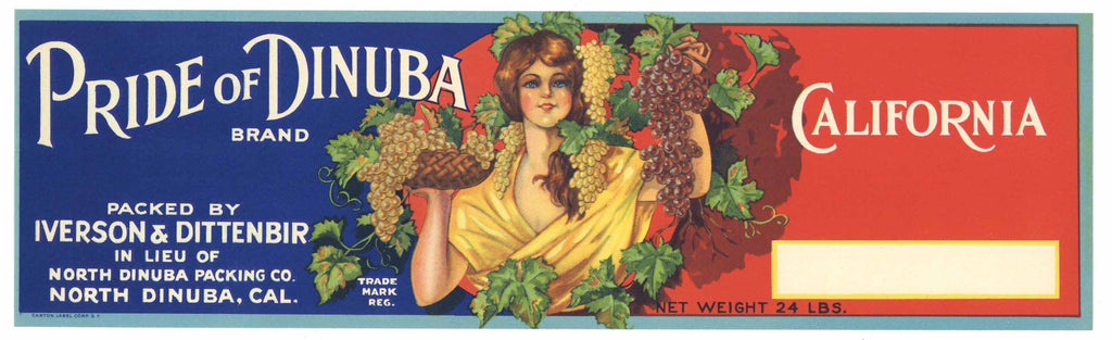Pride of Dinuba Brand Vintage Grape Crate Label
