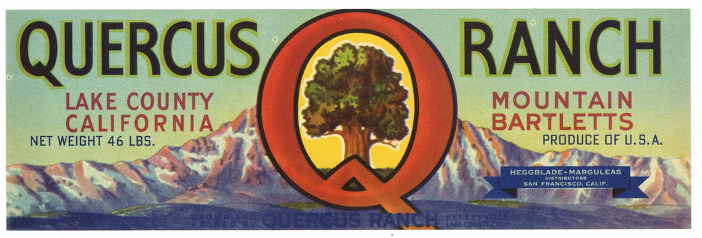 Quercus Ranch Brand Vintage Lake County Pear Crate Label, Lug