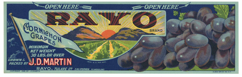 Rayo Brand Vintage California Grape Crate Label