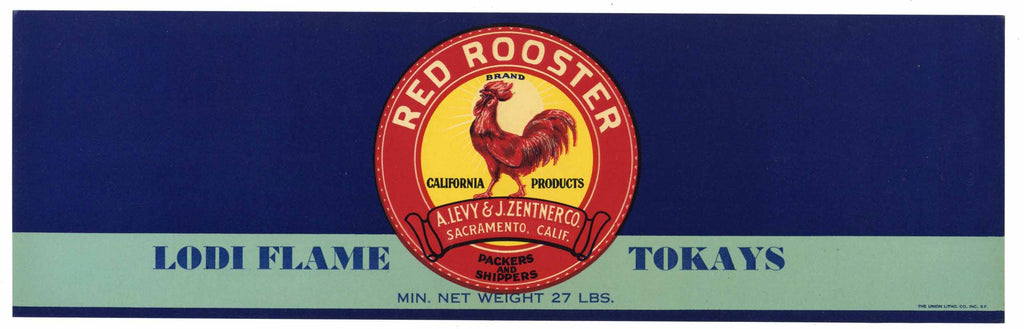 Red Rooster Brand Vintage Lodi Flame Tokay Grape Crate Label