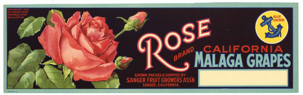 Rose Brand Vintage Sanger Grape Crate Label