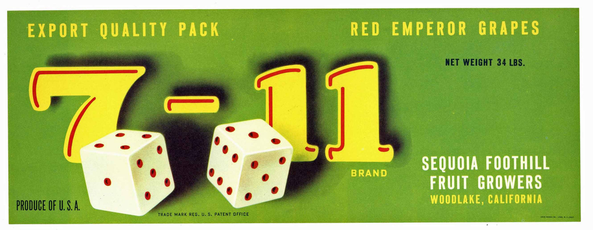 7 - 11 Brand Vintage Woodlake Fruit Crate Label, export
